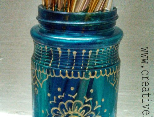 glass painted jar organizer tutorial