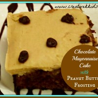 Tasty Tuesdays:  Chocolate Mayonnaise Cake with Peanut Butter Frosting