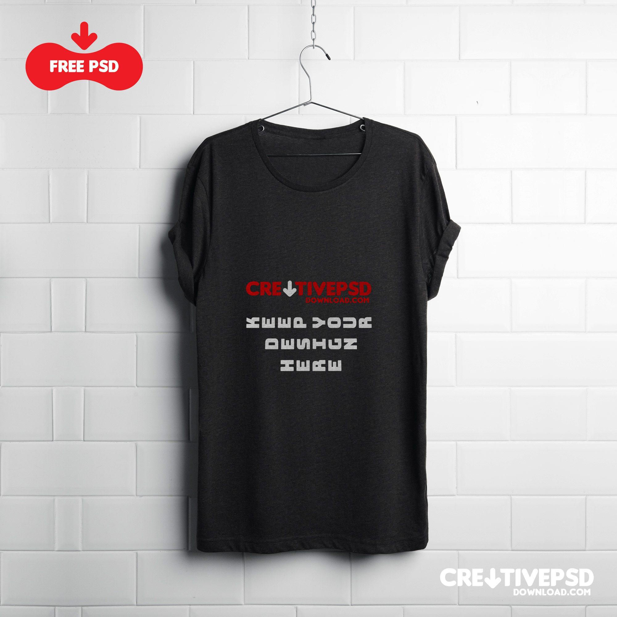 Black t shirt psd template -  T Shirt Psd Mockup Freebie Download