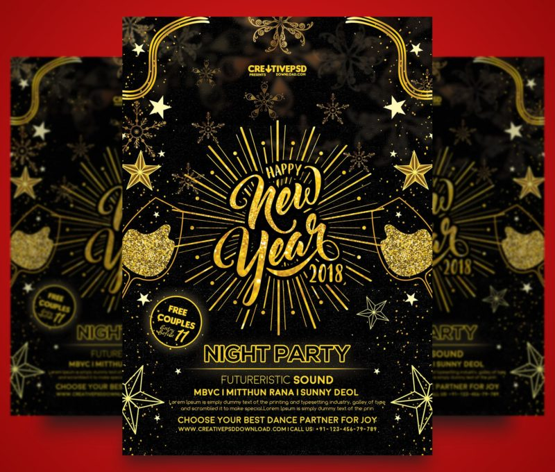 Happy New Year Party Flyer Free PSD - free new years eve flyer template