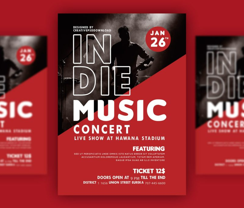 Music Concert Flyer PSD Bundle Freebie - music flyer template