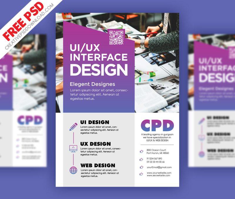 UI/UX Design Flyer PSD Freebie - design a flyer free