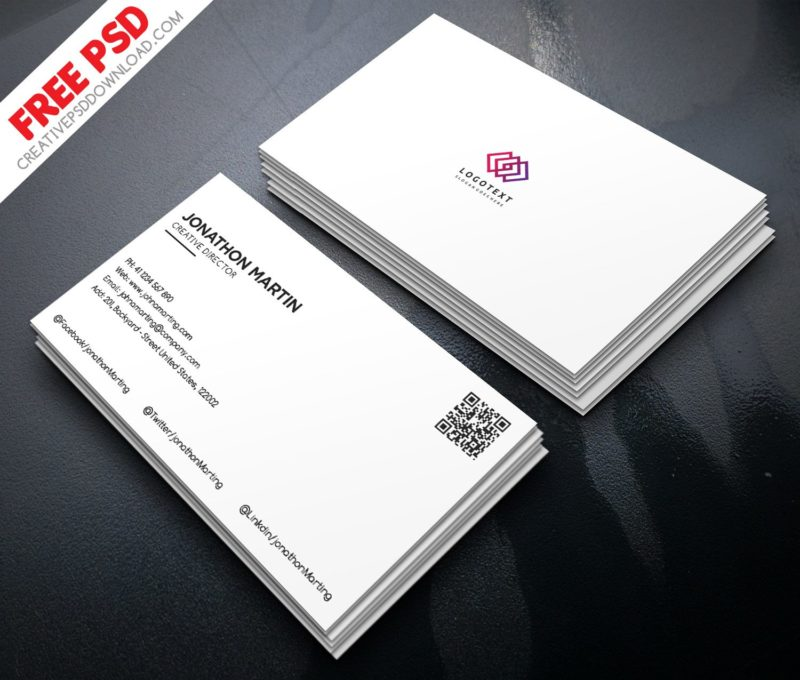 Minimalist Business Card Free PSD - card design template
