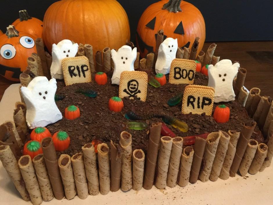 Happy Halloween Graveyard Cake