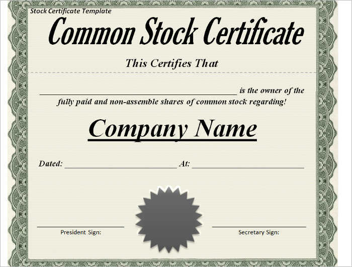 42+ Stock Certificate Templates Free Word, PDF, Excel Formats
