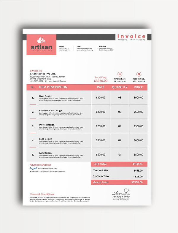 23+ Business Invoice Templates - PSD, Word, PDF Documents Download