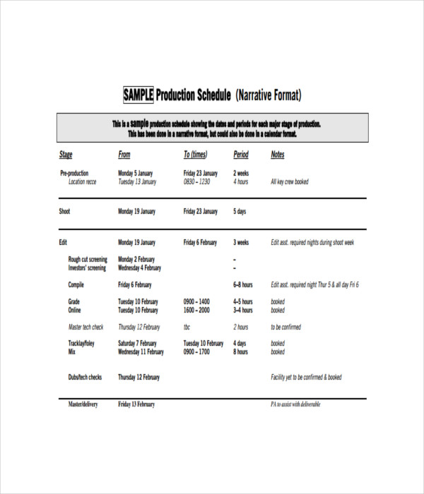 21+ Schedule Templates - Free Word, PDF Documents Download - sample production schedule template