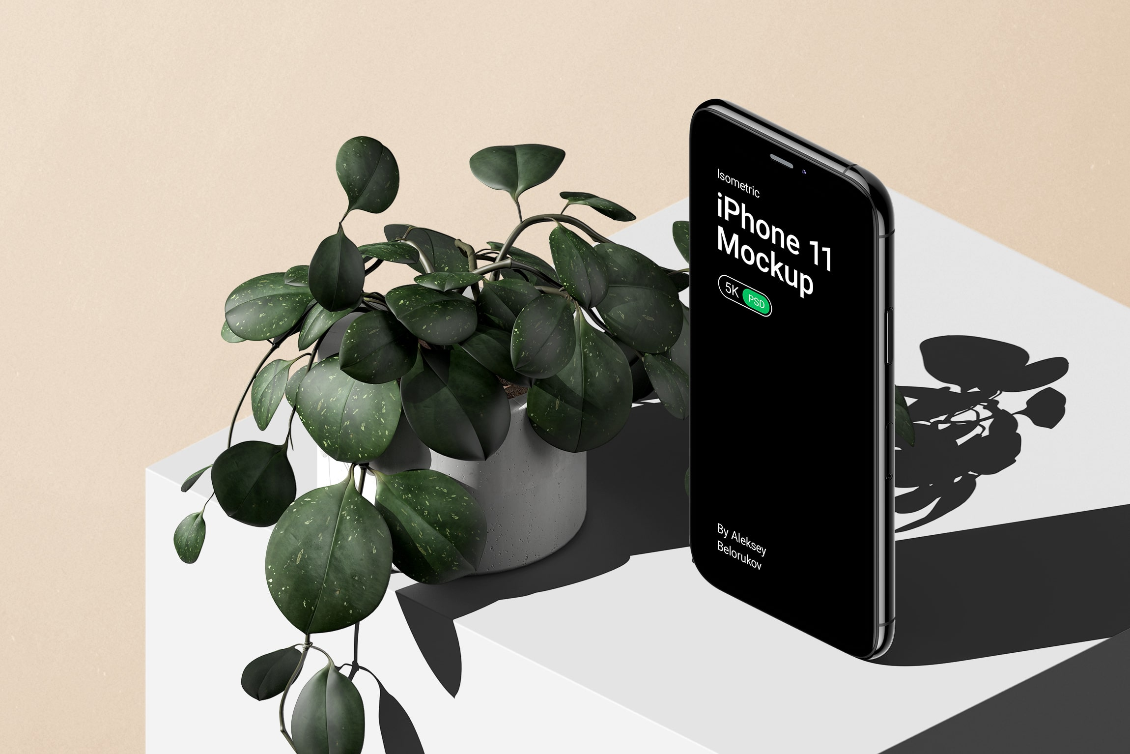 Iphone 11 Pro With Plants Mockup V1 Isometric Psd Creatoom