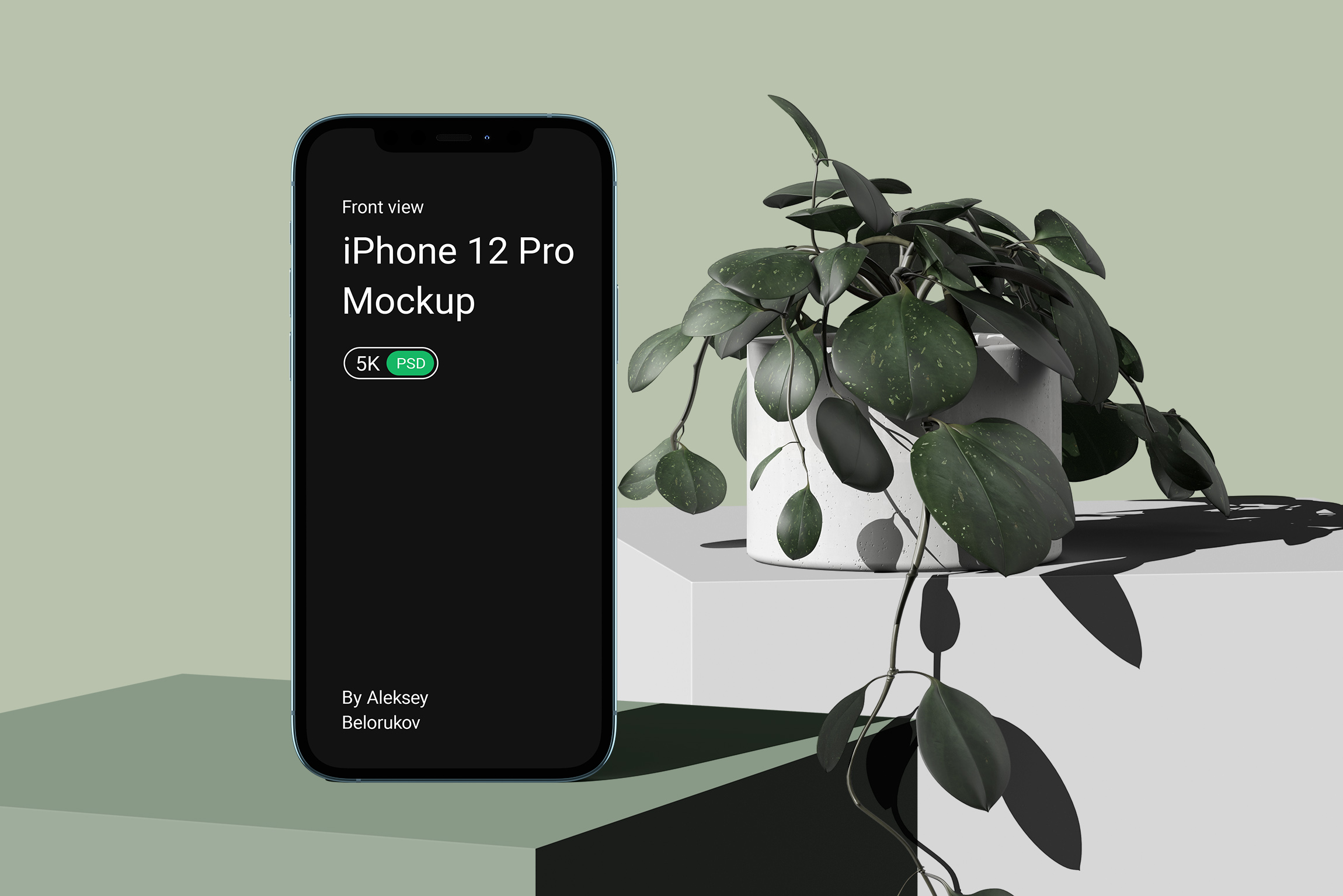 Iphone 12 Pro With Plant Mockup V2 Front View Psd Creatoom