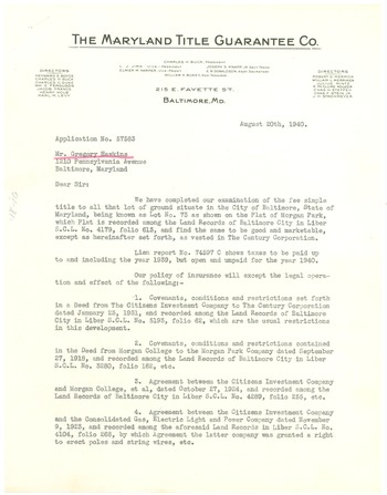 Letter from Maryland Title Guarantee Company to Gregory Hawkins - guarantee letter