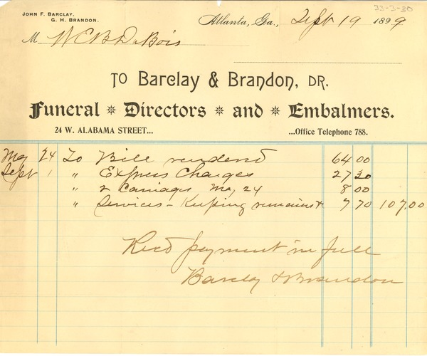 Receipt for Payment of Funeral Services, September 19, 1899
