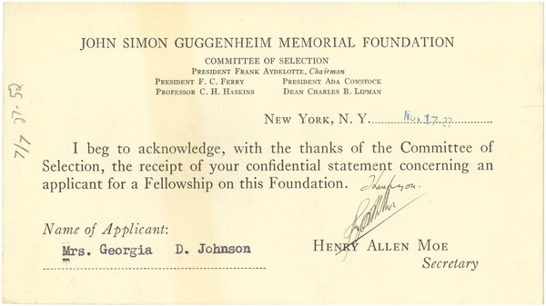 Fellowship recommendation acknowledgement card, November 17, 1927