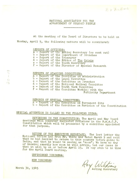 NAACP Board meeting agenda, March 30, 1945