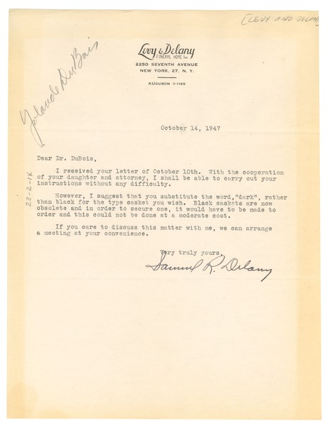 Letter from Levy  Delany Funeral Home to W E B Du Bois, October