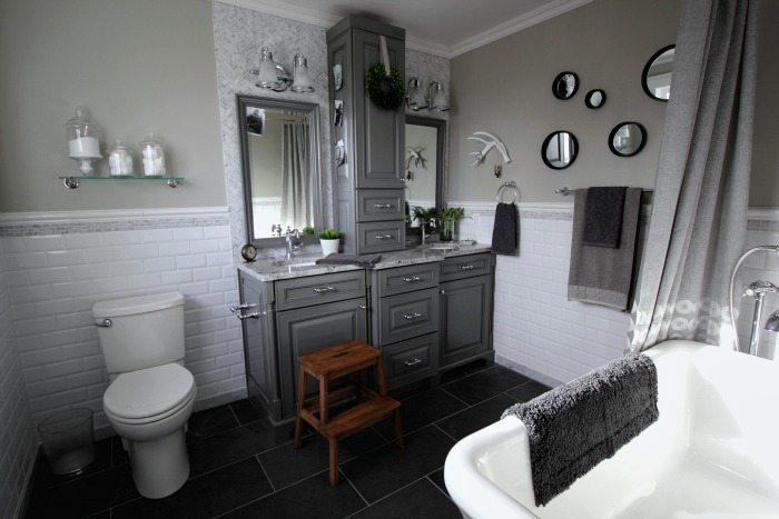 Pedestal Tub Before And After: Grey And White Traditional Bathroom