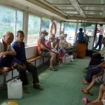 We avoid the hawkers and take the public ferry across the Li River