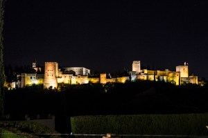 Alhambra at night, as we walk in the cold to our Flamenco show.