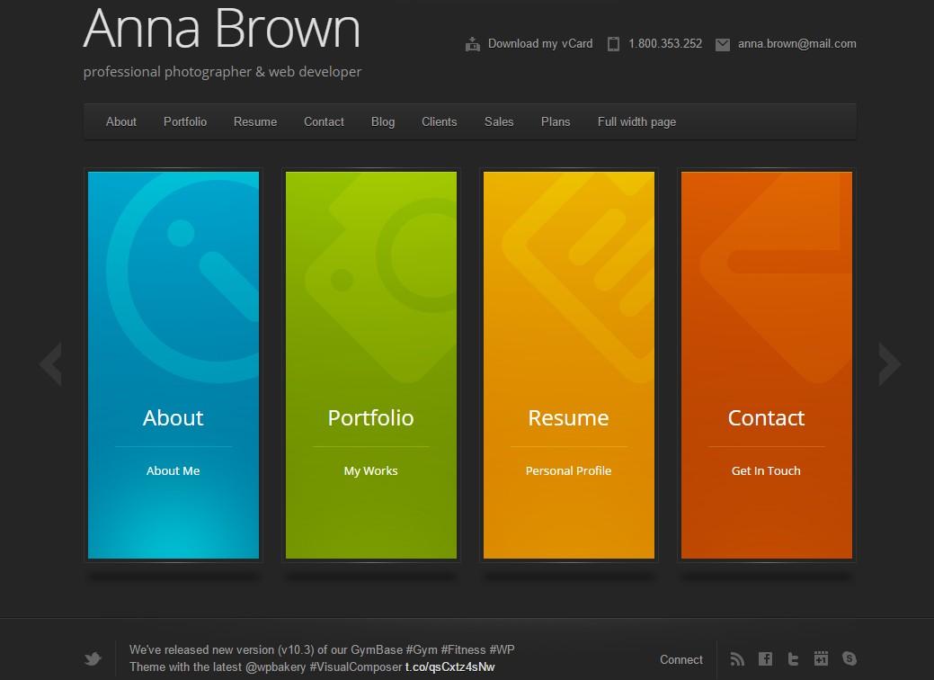 portfolio cv en ligne wordpress theme