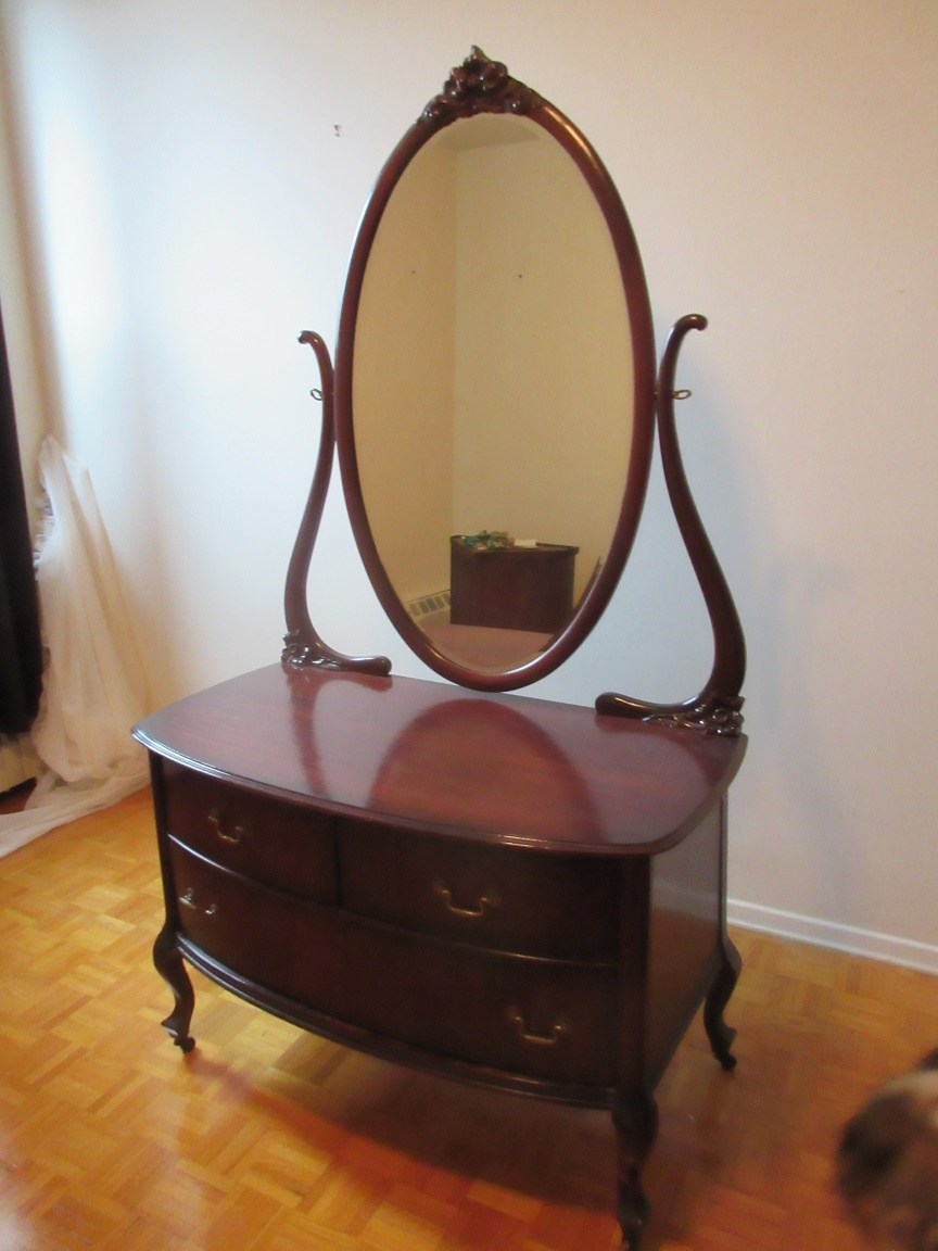 Lowboy Dresser Lowboy Dresser With Swing Mirror C1935 Great Refinished Condition