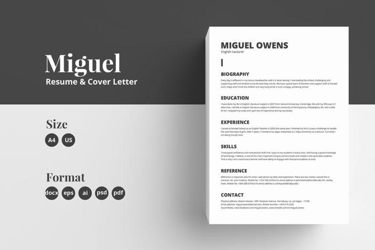 Resume/CV Template \u2013 Miguel \u2013 Crella