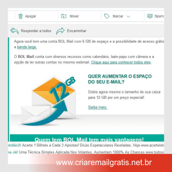 Criar E-mail Grátis Bol