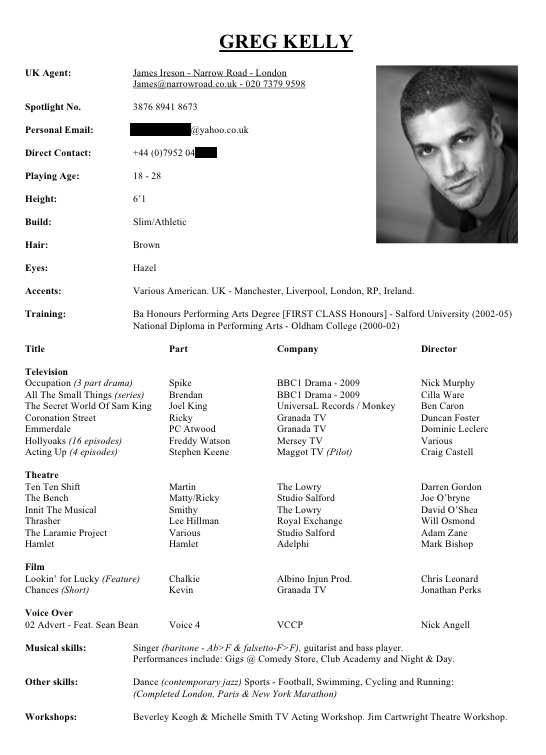 Theatrical Resume Format Actors Resume Example Sample Actor - theatrical resume format