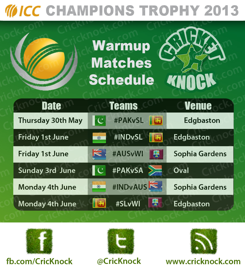 ICC Champions Trophy 2013 Warm Up Matches Schedule