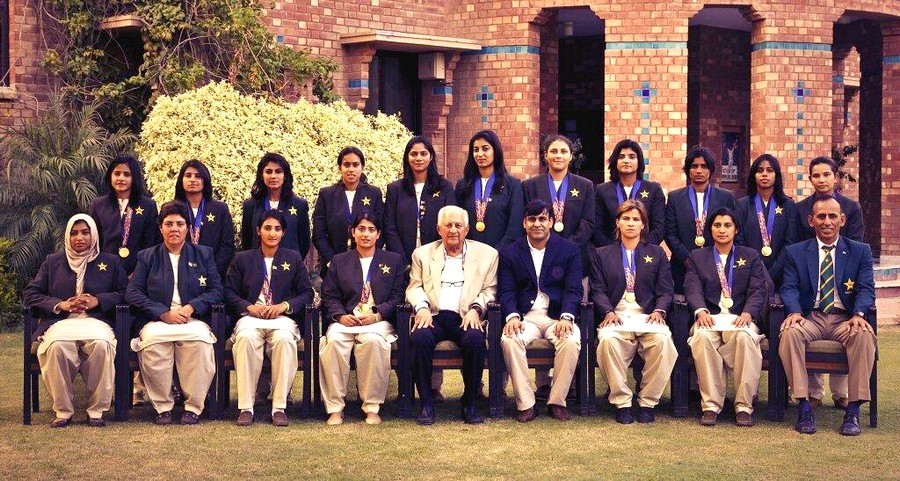Pakistan Women's Cricket Team posting with PCB Chief and officials in Lahore