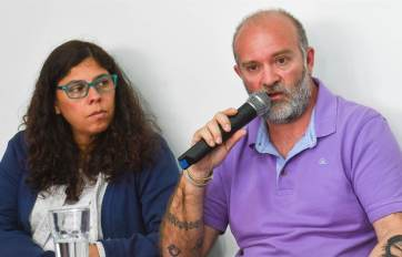Sergio y Andrea en la conferencia de prensa.