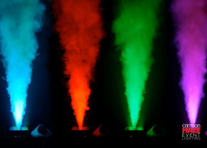 "Colored ""geyser"" fog blasters from Crimson  Haze Event Lighting"