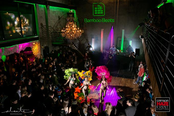 Crimson Haze lighting at Bamboo Beats 10th Anniversary Party