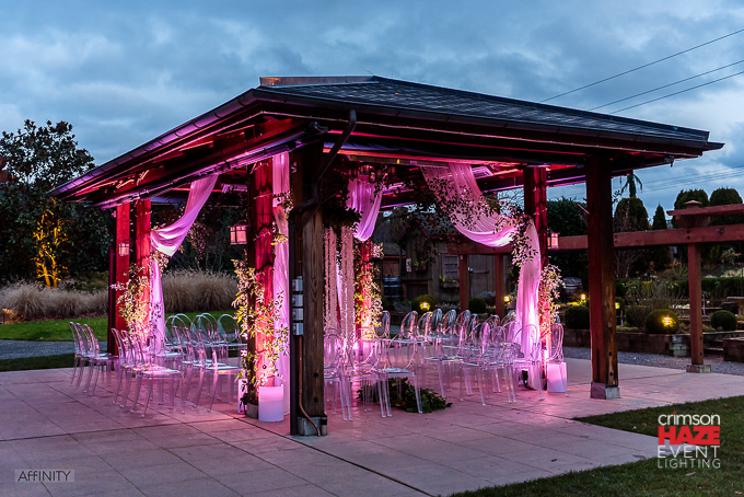 Weddings in Woodinville, Willows Lodge. Lighting by Crimson Haze. Photo by Affinity Photography.