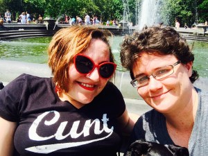 "Image of Sara and I front of the Washington Square park foundation. I'm wearing my beautiful ""Cunt"" shirt."