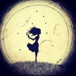 girl shawdow moon holding flowers flying petals