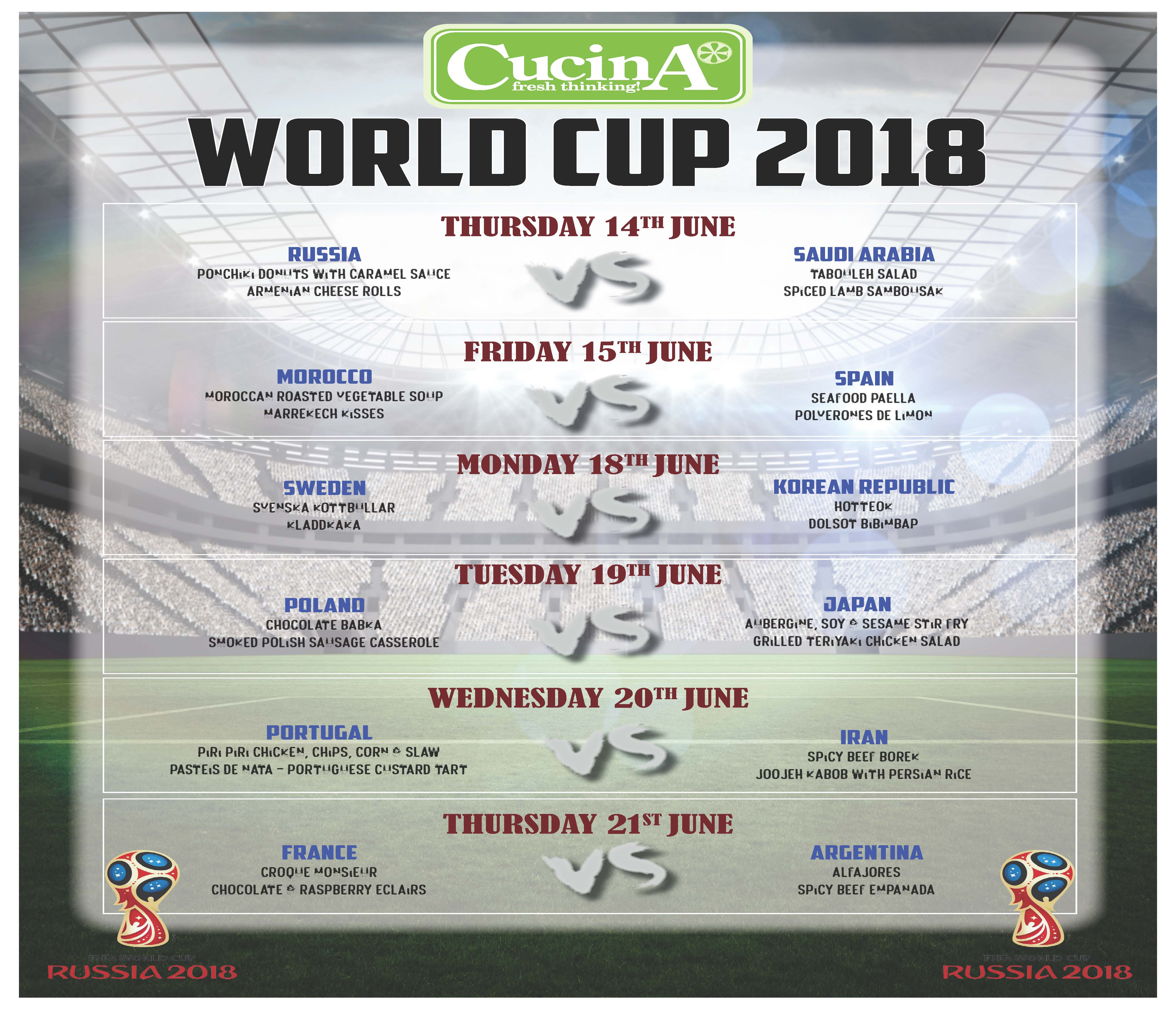 Cucina And Co Menu Cucina World Cup Menus St Crispin S Excellence For All