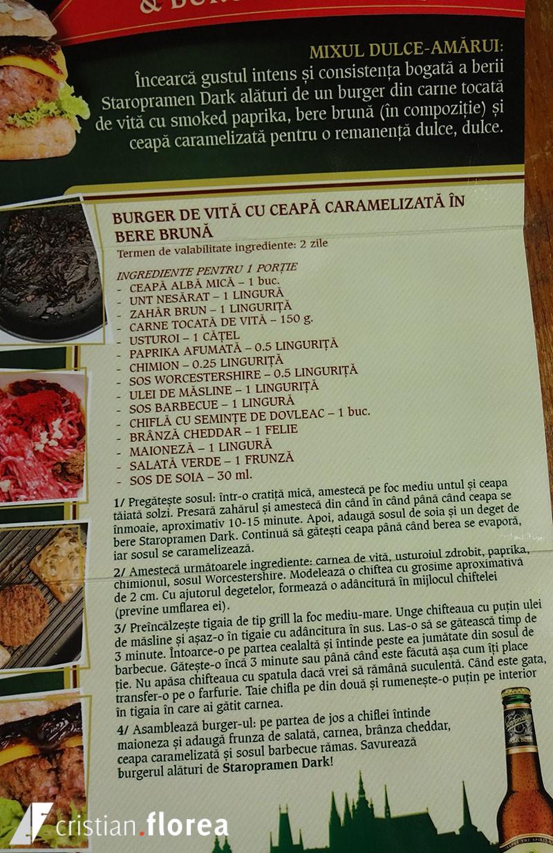 4 staropramen dark si burger din carne tocata de vita