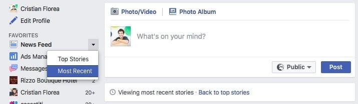 facebook - most recent stories