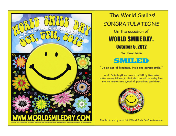 World Smile Day is celebrated on the first Friday in the month of - first place award certificate