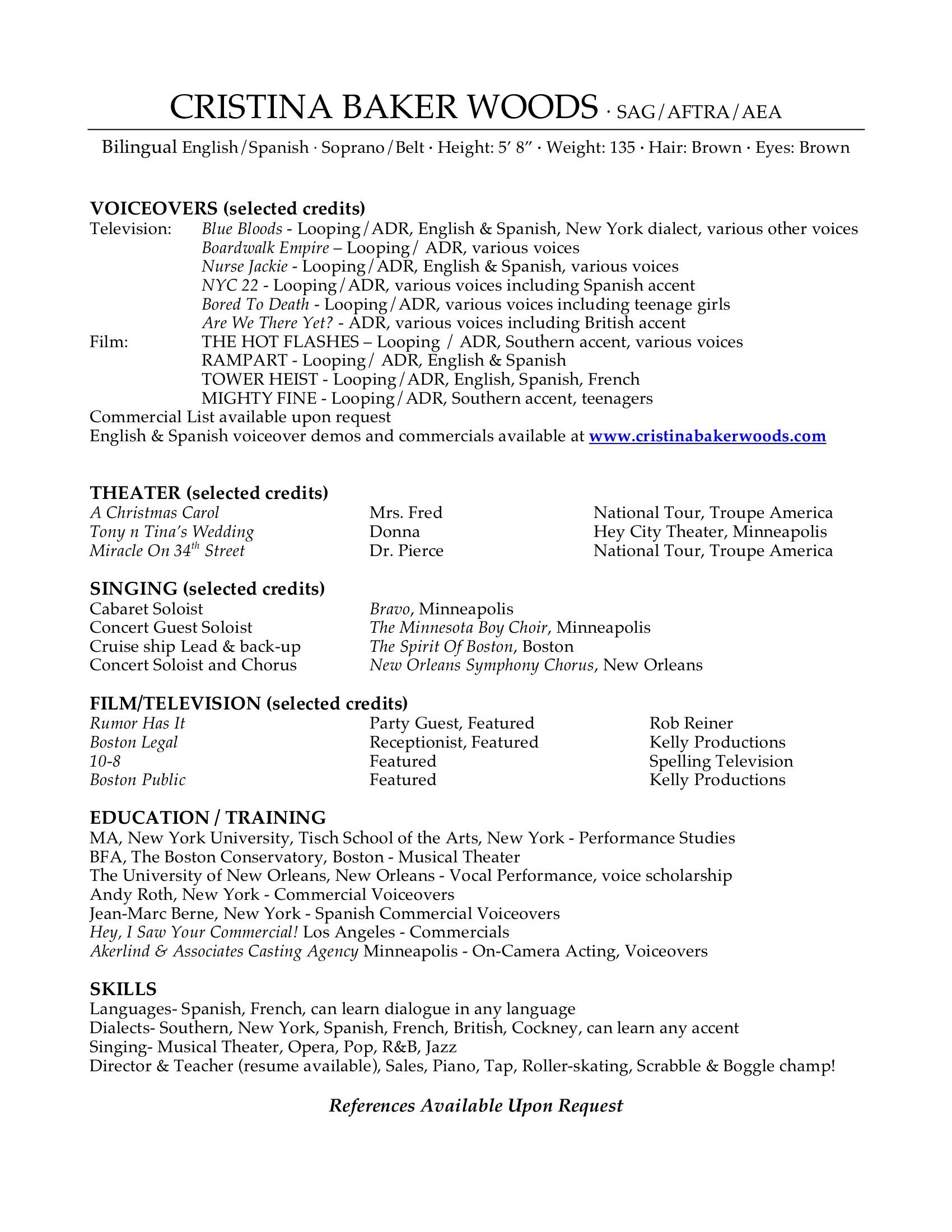 sample voice artist resume