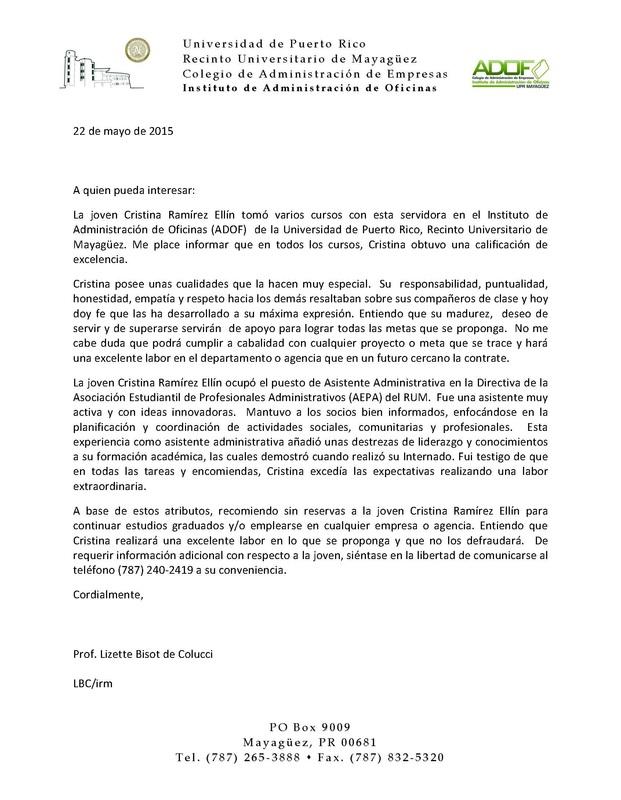 Carta de Recomendación - Portafolio Profesional