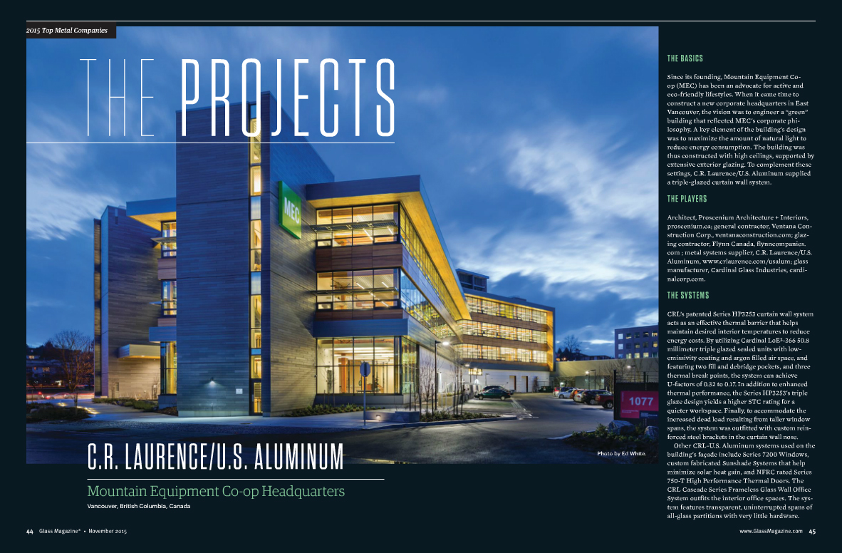 Glass Curtain Wall Manufacturer Crl U S Aluminum Named The Top Metal Company