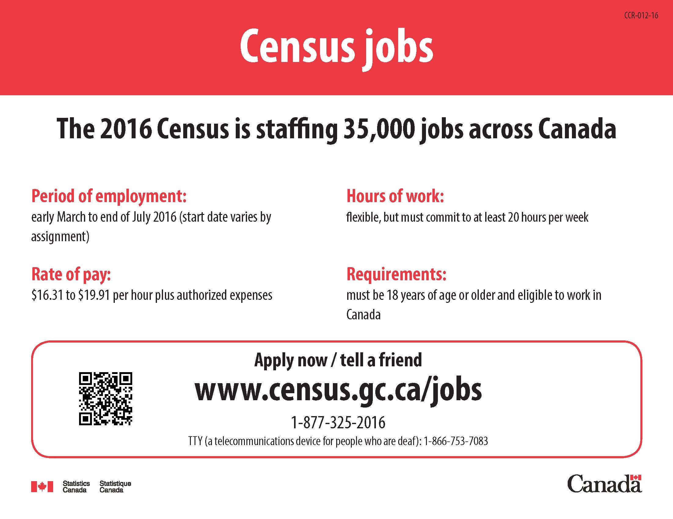 Statistics Canada Census Positions Available Canadian Croatian - Ccr Canada