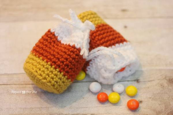 Crochet Candy Corn Treat Bag ? Crochet