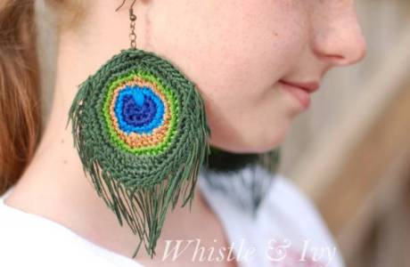 DIY Peacock Feather Earrings