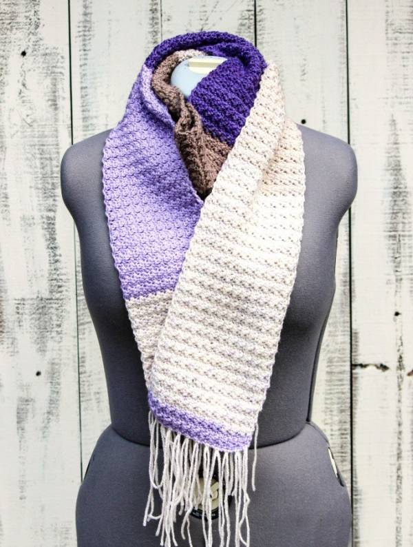 Crochet Scarf Pattern uses Cherry chip and lilac frosting Caron Cakes ...