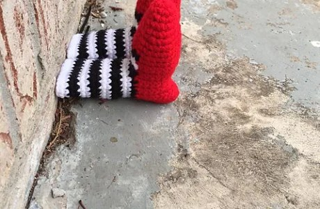 Witch Leg Yarn Bomb