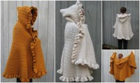 Ruffled Shawl With Hood