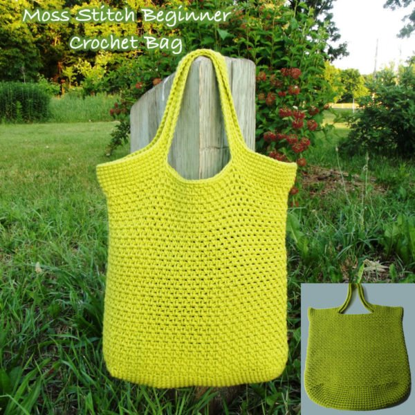 Crocheting For Beginners Patterns : Moss Stitch Beginner Crochet Bag ~ FREE Crochet Pattern