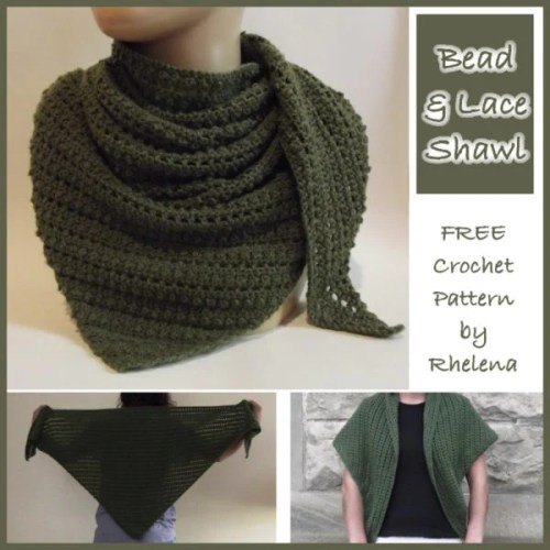 Crochet Patterns With Super Fine Yarn : Bead and Lace Shawl ~ FREE Crochet Pattern