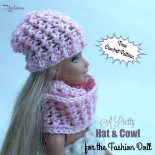 A Pretty Hat & Cowl for the Fashion Doll ~ FREE Crochet Pattern